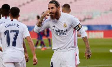 Barcelona, Spain. 24th Oct, 2020. Sergio Ramos of Real Madrid celebrate a goal during the Liga match between FC Barcelona and Real Madrid at Camp Nou on October, 24 2020 in Barcelona, Spain. Credit: Dax Images/Alamy Live News