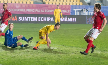 "Ploiesti, Romania. 17th Nov, 2020. Ionut Costache #20 of Romania after scoring the qualification goal during the European Under-21 Championship 2021 Qualifying Round match between the national teams of Romania and Denmark at ""Ilie Oana"" Stadium in Ploiest"