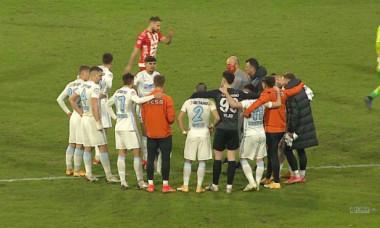 Toni Petrea și jucătorii de la FCSB, după meciul cu UTA Arad / Foto: Captură Digi Sport