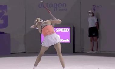 Eugenie Bouchard a distrus o rachetă în meciul cu Sara Sorribes Tormo / Foto: Captură Twitter@TennisCanada