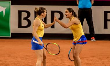 Monica Niculescu și Simona Halep, în meciul de dublu cu Caroline Garcia și Kristina Mladenovic, din semifinalele FED Cup 2019 / Foto: Sport Pictures
