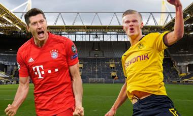PHOTOMONTAGE: Preview Borussia Dortmund-FC Bayern Munich on November 7th, 2020 meeting of the two goal guarantors Robert LEWANDOWSKI (FC Bayern Munich) and Erling HAALAND (Borussia Dortmund) at the top duel of the 7th matchday. The empty BVB stadium after