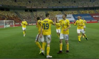 Fotbaliștii României, după golul marcat de Florin Tănase cu Macedonia de Nord / Foto: Captură ProTV