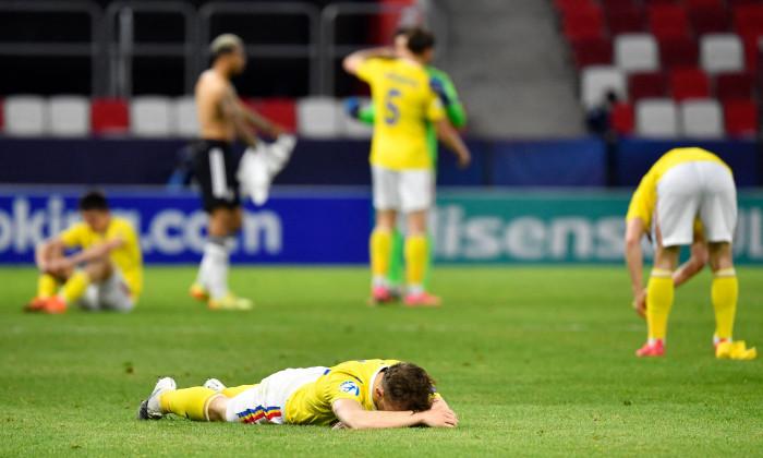 Fotbaliștii României, la finalul meciului cu Germania U21 / Foto: Profimedia