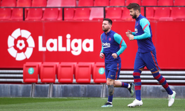 Gerard Pique și Lionel Messi, la un antrenament al Barcelonei / Foto: Getty Images