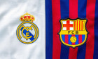 Calgary, Alberta, Canada. July 10, 2020. Club Barcelona vs Real madrid close up to their jersey logo