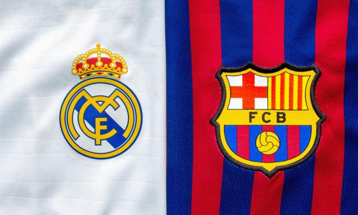Calgary, Alberta, Canada. July 10, 2020. Club Barcelona vs Real madrid close up to their jersey logo