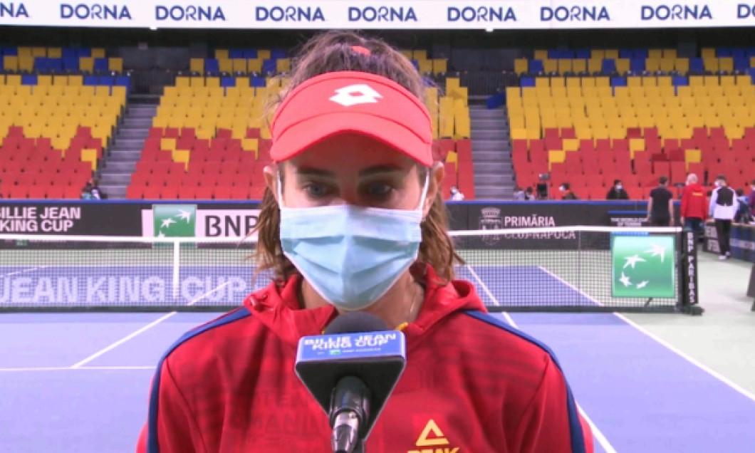 Mihaela Buzărnescu, la interviul de după meciul cu Martina Trevisan / Foto: Captură Digi Sport