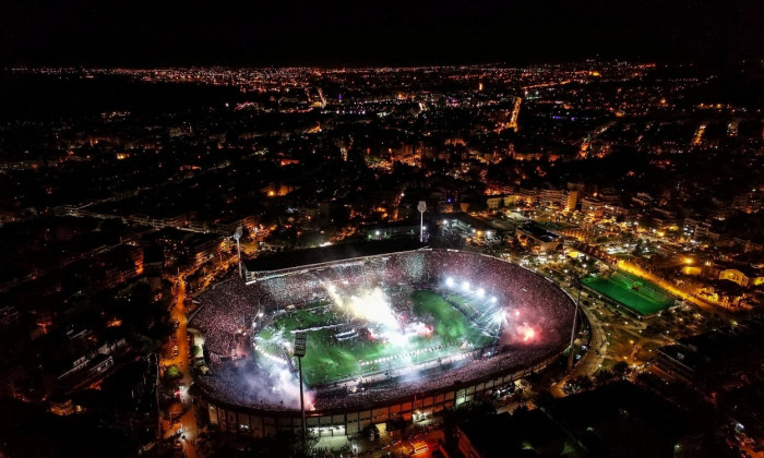 Thessaloniki, Greece, April 21, 2019: Aerial shoot of the Toumba Stadium full of fans of PAOK celebrating the winning of the Greek Super League champi