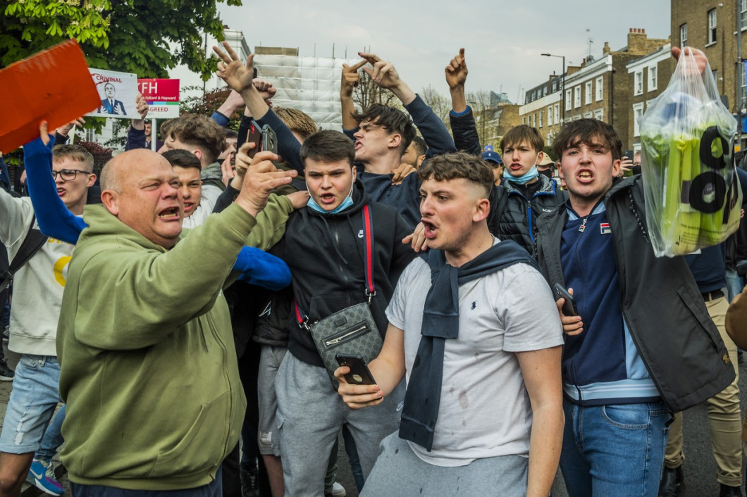 Chelsea fans gather outside the Football Club to protest them joining the planned European Super League., Stamford Bridge, London, UK - 20 Apr 2021