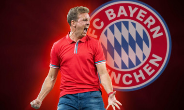 PHOTOMONTAGE: Julian NAGELSMANN moves to FC Bayern Munich! Archive photo; jubilation coach Julian NAGELSMANN (L) Soccer 1st Bundesliga, 3rd matchday, Borussia Monchengladbach (MG) - RB Leipzig (L)) 1: 3, on 08/30/2019 in Borussia Monchengladbach / Germany