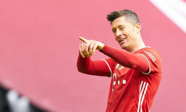 Robert LEWANDOWSKI, FCB 9 celebrates his goal, happy, laugh, celebration, 3-0 in the matchFC BAYERN MUENCHEN - VFB STUTTGART 4-01.German Football League on March 20, 2021 in Munich, Germany Season 2020/2021, matchday 26, 1.Bundesliga, FCB, Mnchen, 26.