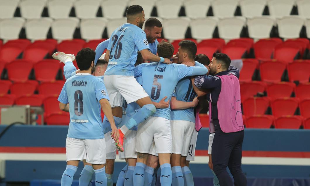 Fotbaliștii lui Manchester City, în meciul cu PSG / Foto: Getty Images