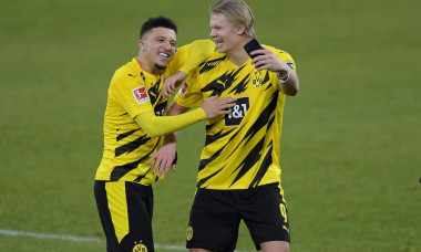 from right: Erling HAALAND (Borussia Dortmund) and Jadon SANCHO (Borussia Dortmund) after the end of the game, take selfies with smartphone. laughs, laughs, laughsd, optimistic, in a good mood. Soccer 1st Bundesliga, 22nd matchday, FC Schalke 04 (GE) - Bo
