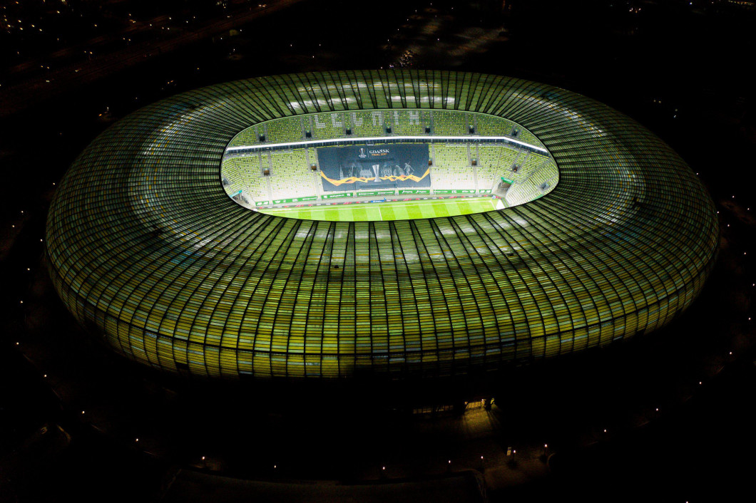 Gdansk, Poland. 30th Nov, 2020. (EDITORS NOTE: image taken with a drone)Energa Stadium seen before the match of PKO Ekstraklasa between Lechia Gdansk and Lech Poznan in Gdansk. Gdansk will be a host of UEFA Europa League final in 2021. Credit: SOPA Images