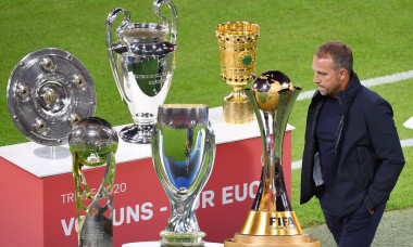 PHOTO MONDAY: Preview Club World Cup 2021 Quatar from 04.02.-11.02.2021. Hans Dieter Flick (Hansi, coach FC Bayern Munich) wants to win the Club World Cup after 5 titles. Archive photo: The triple bowl, championship trophy, Champions League cup and DFB cu