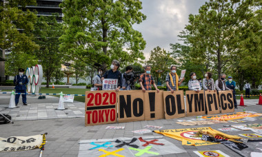 Protesters March Against The Tokyo Olympics