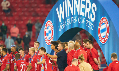 Budapest, Hungary, 24th September 2020. Celebration with trophy Trainer Hansi FLICK (FCB), team manager, headcoach, coach, Thomas MUELLER, MLLER, FCB 25 in the Final UEFA Supercup matchFC BAYERN MUENCHEN - FC SEVILLA 2-1in Season 2019/2020,