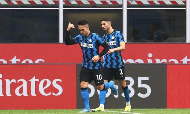 Achraf Hakimi și Lautaro Martinez, într-un meci AC Milan - Inter / Foto: Getty Images