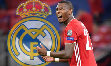 Budapest, Ferenc Puskas Stadium. 24th Sep, 2020. PHOTOMONTAGE: Bayern star wants to leave in summer Alaba poker walks into the hot phase - Real Madrid probably has the best cards. Archive photo; David ALABA (FC Bayern Munich), gesture, action, single imag