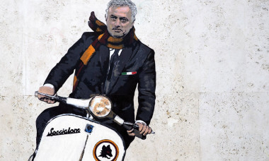 Mural by street artist Harry Greb dedicated to the new AS Roma coach Jose' Mourinho, Rome, Italy