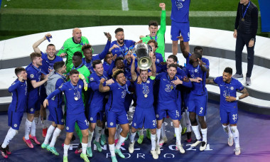 Chelsea's Cesar Azpilicueta (centre) and team-mates celebrate with the trophy after the UEFA Champions League final match held at Estadio do Dragao in Porto, Portugal. Picture date: Saturday May 29, 2021.