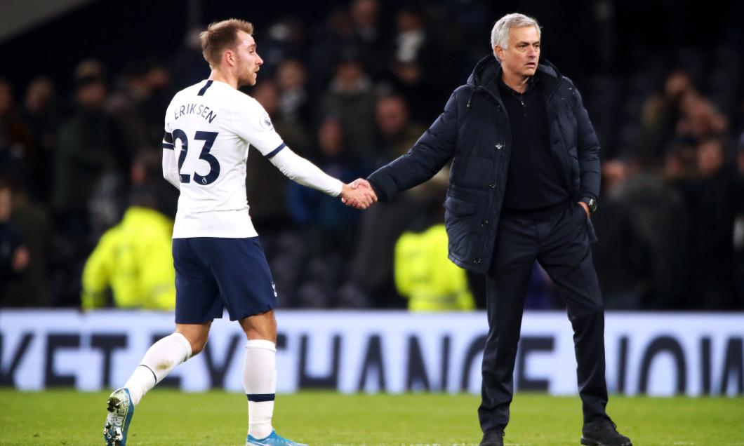 Christian Eriksen și Jose Mourinho, după un meci Tottenham - Chelsea / Foto: Profimedia