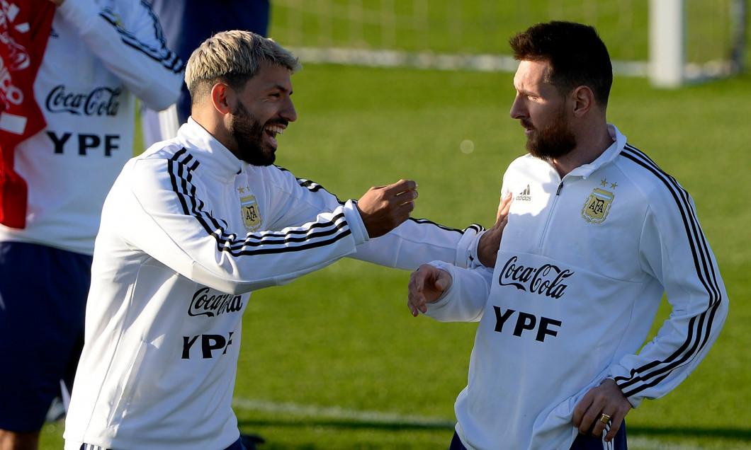 Messi and Aguero trainning Argentine soccer team in Palma de Mallorca