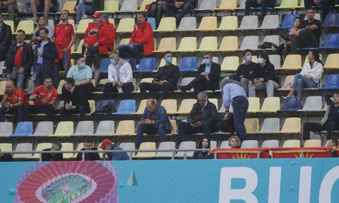 Gheorghe Hagi, Gică Popescu și Ciprian Marica, în tribuna a doua de la Arena Națională, la Austria - Macedonia de Nord / Foto: Inquam Photos / Octav Ganea