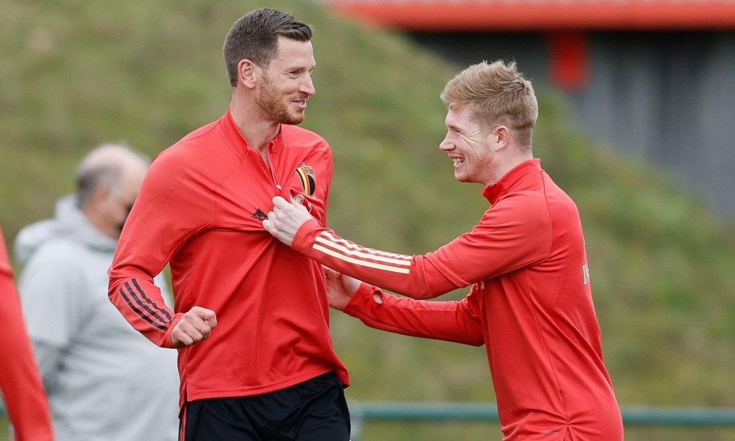 Belgium's Jan Vertonghen and Belgium's Kevin De Bruyne pictured during a training session of the Belgian national team Red Devils, Friday 26 March 202