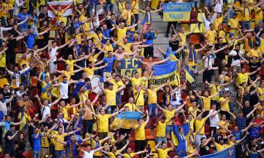 Suporterii naționalei Ucrainei, la partida cu Macedonia de Nord de la EURO 2020, disputată la București / Foto: Getty Images