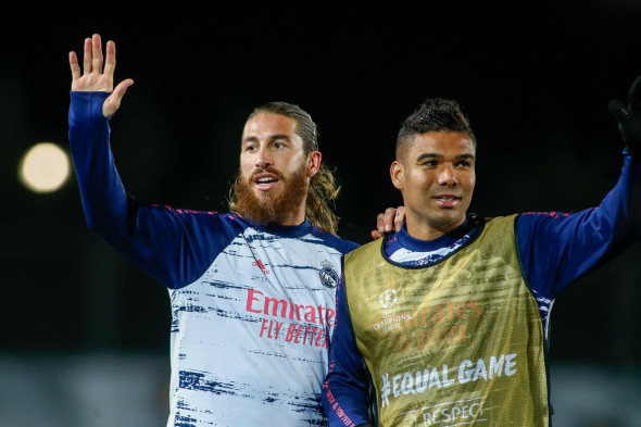 Madrid, Spain. 03rd Nov, 2020. Sergio Ramos and Carlos Henrique Casemiro of Real Madrid warm up before the UEFA Champions League, Group Stage, Group B football match between Real Madrid CF and FC Internazionale on November 3, 2020 at Alfredo Di Stefano st