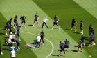 Entrainemente de l'équipe de France de football ŕ Budapest