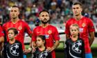 Marko Momcilovic, Junior Morais și Ionuț Larie, înainte de meciul FCSB - Sporting Lisabona din play-off-ul Champions League / Foto: Profimedia