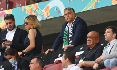 Budapest, Hungary. 19th June, 2021. Football: European Championship, Hungary - France, preliminary round, Group F, 2nd matchday at the Puskas Arena: Hungarian Prime Minister Viktor Orban sits in the stands. Credit: Robert Michael/dpa-Zentralbild/dpa/Alamy