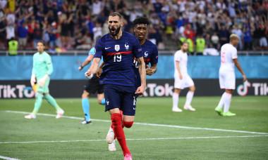 Karim Benzema, după golul marcat în meciul cu Elveția de la București / Foto: Getty Images