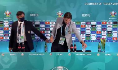 Cristiano Ronaldo, Paul Pogba and Manuel Locatelli remove Coca-Cola/Heineken bottles
