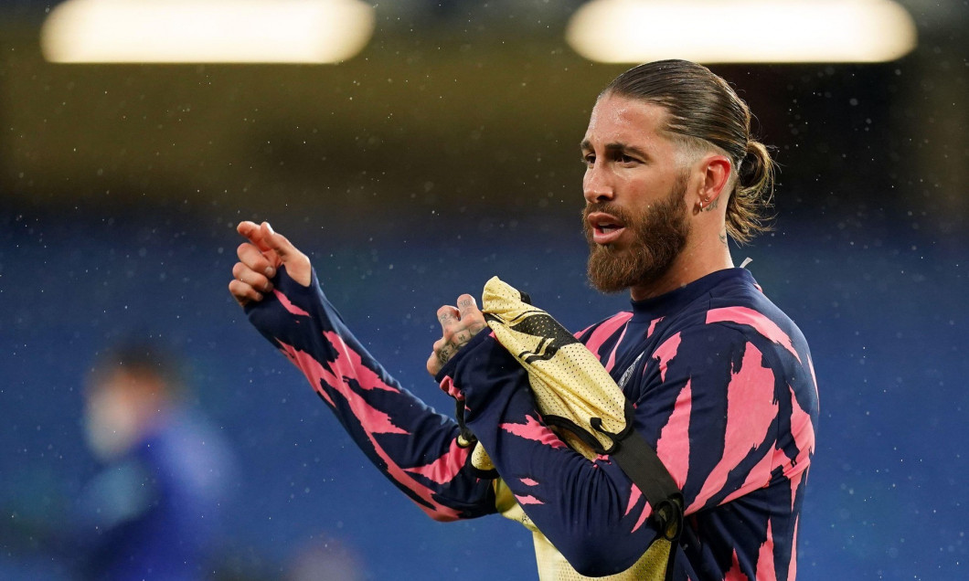 Real Madrid's Sergio Ramos warming up before the UEFA Champions League Semi Final second leg match at Stamford Bridge, London. Picture date: Wednesday May 5, 2021.