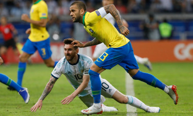Belo Horizonte, Brazil. 02nd July, 2019. Lionel Messi and Dani Alves during a match between Brazil and Argentina, valid for the semifinal of Copa America 2019, held this Tuesday (02) at the Governador Magalhes Pinto Stadium, the Mineiro in Belo Horizonte,