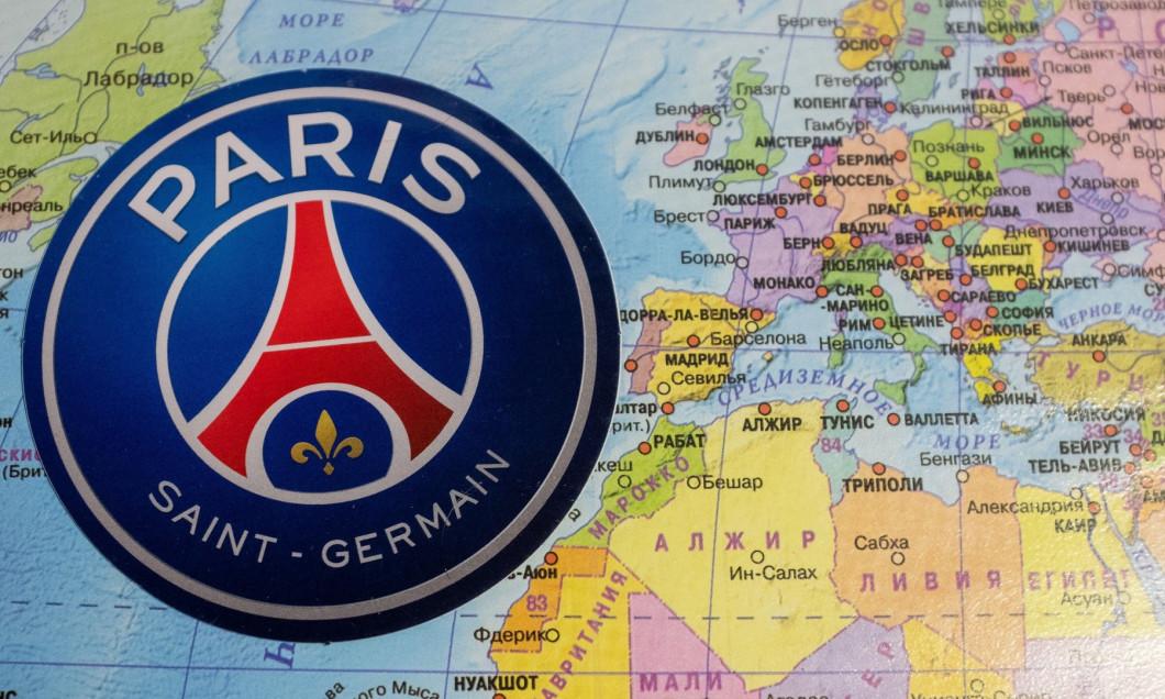 August 20, 2020 Lisbon, Portugal. The emblems of the 2019/2020 UEFA Champions League finalist Paris Saint-Germain F.C. against the background of the m