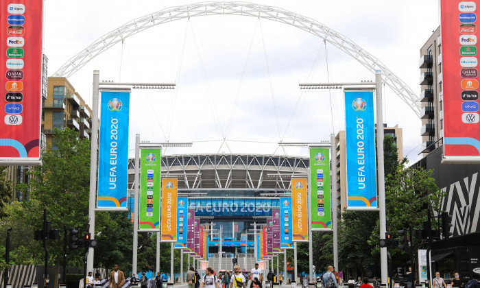 Wembley stadium in London where the UEFA Euros 2020 semi finals and final will be taking place, July 2021, UK