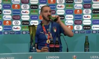 Leonardo Bonucci, la conferința de presă de după finala EURO 2020 / Foto: Captură Twitter@CGTNSportsScene