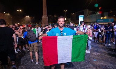 Italian fans celebrate victory of European Football Championships in Rome