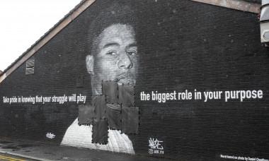 Muralul lui Marcus Rashford din Manchester / Foto: Profimedia