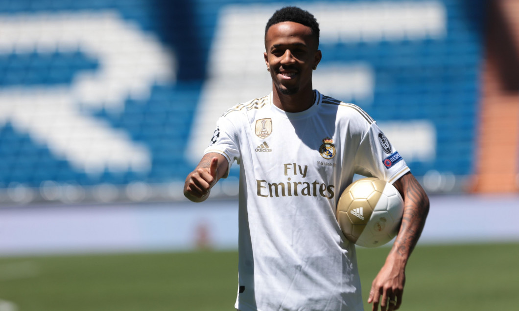 Madrid, Spain. 10th July, 2019. Madrid, Spain; 10/07/2019.Eder Militao new Real Madrid player, is presented in pitch of Santiago Bernabeu Stadium. Credit: Juan Carlos Rojas/Picture Alliance   usage worldwide/dpa/Alamy Live News
