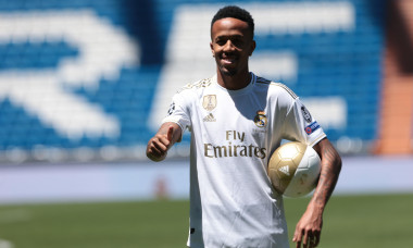 Madrid, Spain. 10th July, 2019. Madrid, Spain; 10/07/2019.Eder Militao new Real Madrid player, is presented in pitch of Santiago Bernabeu Stadium. Credit: Juan Carlos Rojas/Picture Alliance | usage worldwide/dpa/Alamy Live News