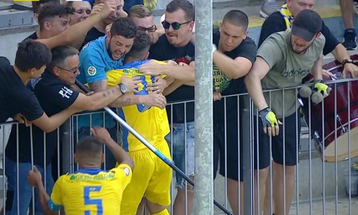 Mario Bratu, alături de suporterii Petrolului, după golul marcat cu Poli Iași / Foto: Captură Digi Sport