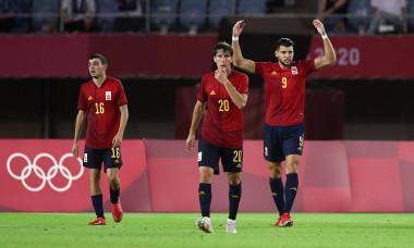 Fotbaliștii Spaniei, în meciul cu Coasta de Fildeș de la Jocurile Olimpice / Foto: Getty Images