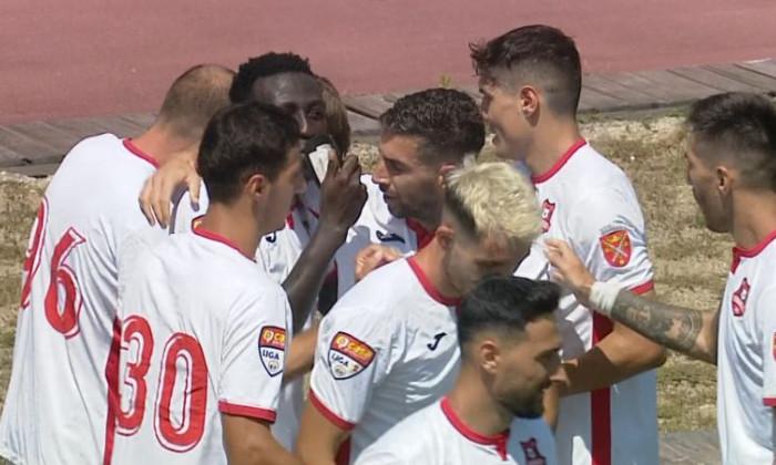 Fotbaliștii lui Hermannstadt, în meciul cu FC Buzău / Foto: Captură Digi Sport