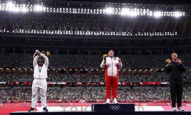 Podiumul olimpic după proba de aruncarea greutății / Foto: Getty Images